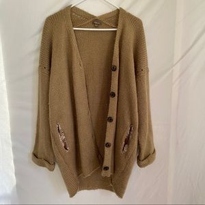 Libian Tan Knit Cardigan Plus Size 1X